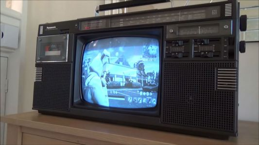 Broadcasting Fortnite To An 80s Boombox TV Is Something Else