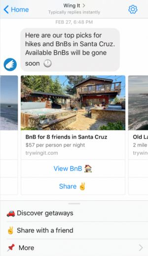 Wing It is a Facebook Messenger bot meant to get you out of the house
