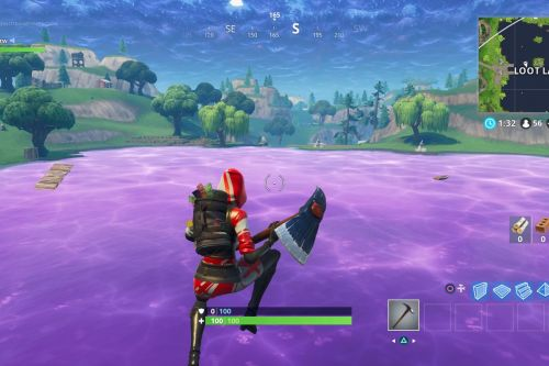Fortnite's mysterious purple cube has created a strange, bouncy lake