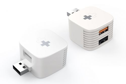 This dongle adds USB and microSD storage to your phone charger