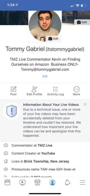 Facebook mistakenly deleted some people's Live videos