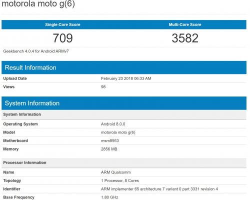 Moto G6 Tested With Android 8.0 Oreo & Mid-Range Specs