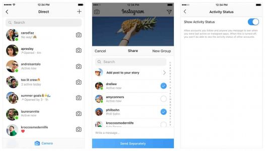 Instagram adds status markers to your DM list