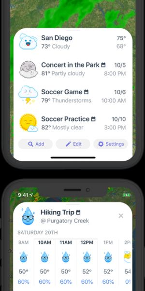 Weather Up's app can give you forecasts for your calendar events