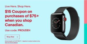 Canadian eBay shoppers can take advantage of a $15 coupon today