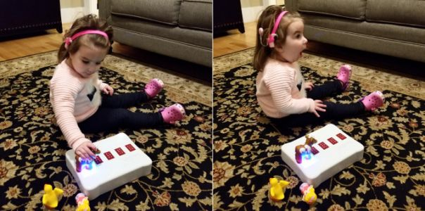 The BecDot is a toy that helps teach vision-impaired kids to read braille