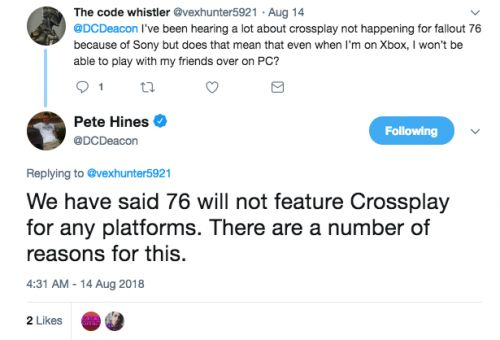 """Fallout 76 Won't Have Cross-Play """"For A Number Of Reasons"""""""