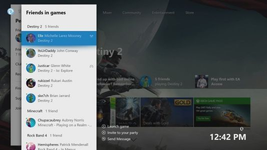 Xbox Live users can now sort friends by game on Xbox One