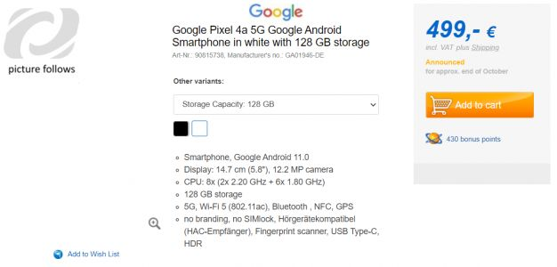 Google Pixel 5 and Pixel 4a 5G early retail listings reveal the price, storage and color options