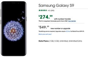 Cricket has a great deal on the Samsung Galaxy S9; pay $275 when you port over your number