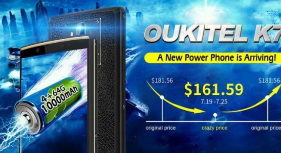 OUKITEL K7 joins Aliexpress flash sales with a $161.59 price