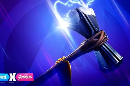 Swing Thor's Stormbreaker during the Fortnite-Avengers: Endgame crossover