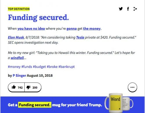 Urban Dictionary is trolling Elon Musk with the definition of 'funding secured'