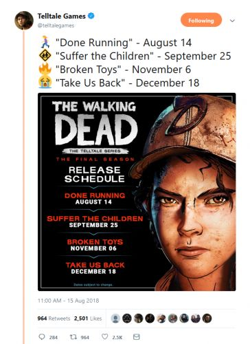 Telltale's The Walking Dead: The Final Season Full Release Schedule Revealed