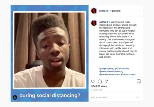 Netflix launches weekly Instagram Live series about coping during the COVID-19 pandemic