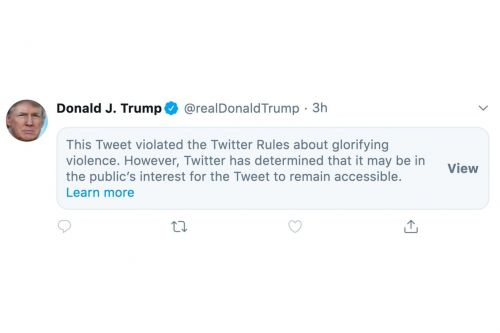 Twitter restricts Trump tweet for 'glorifying violence'
