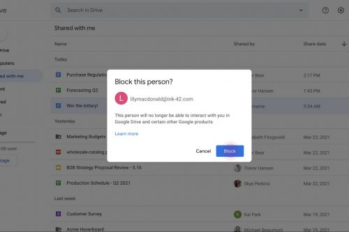 Google Drive will let you block other users to stop potential harassment