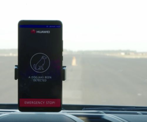 Watch the Huawei Mate 10 Pro drive a car, narrowly miss hitting a dog in the road
