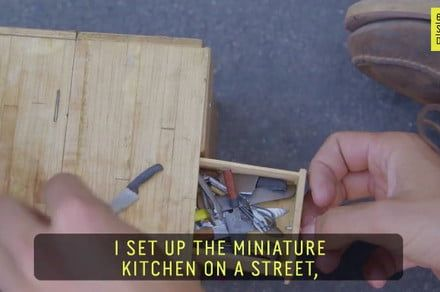 Performance artist serves itty-bitty empanadas, more from a tiny street kitchen