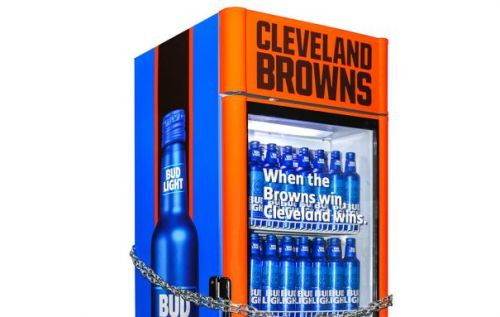 Bud Light beer fridge only opens when the Cleveland Browns win