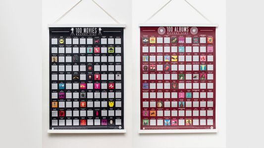 Keep Track of Bucket List Movies and Albums with These Scratch Posters