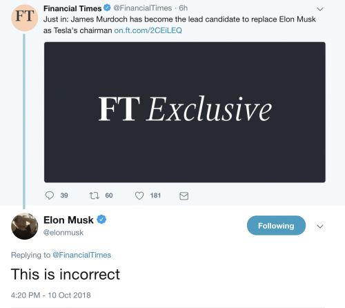 Elon Musk hits back: James Murdoch is not the lead candidate for Tesla chairman spot