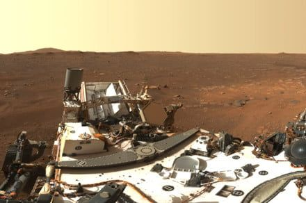 Photo shows Perseverance rover as a tiny dot on the desolate Martian surface