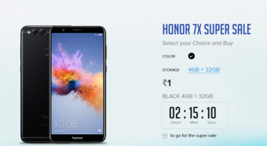 Honor 7X to go on sale for Re. 1 on Honor India website today