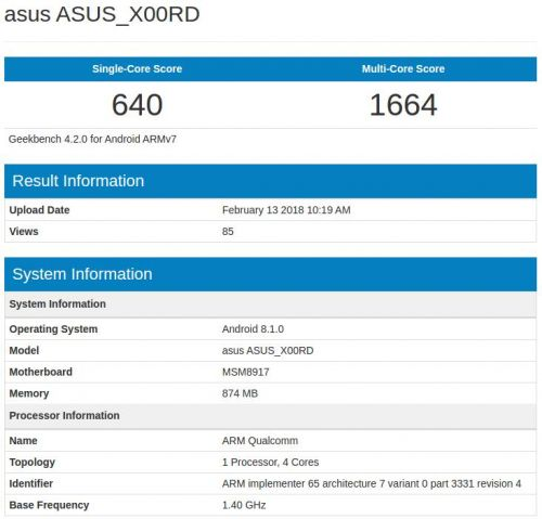 ASUS X00RD Appears On Geekbench; ASUS' Android Go Handset?