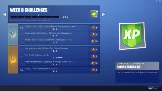 Week 8 Challenges In Fortnite: Dance With Fish Trophy, Shoot Clay Pigeons, Trick Points, And More