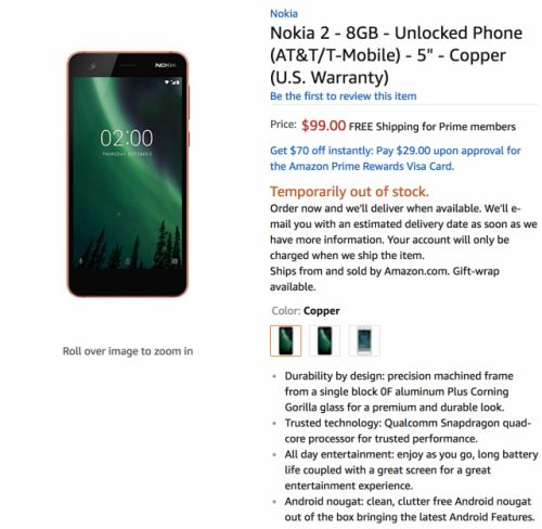 The Nokia 2 arrives on Amazon for $99, but you can't buy it yet