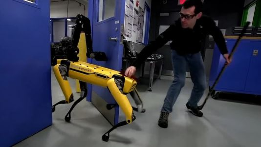 Moment robodog fights off human owner to escape laboratory