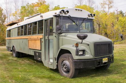 This old school bus is now a solar-powered home on wheels