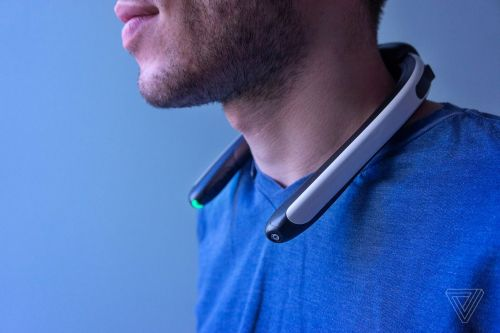 This neckband records 360-degree video from your point of view