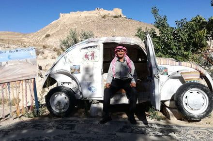 The world's smallest hotel is in a VW Beetle. in the Jordanian desert