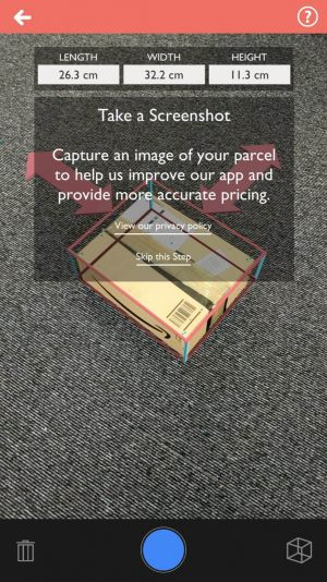 AR: Box Measure & Send is a free postage app that uses AR to measure your parcels for you