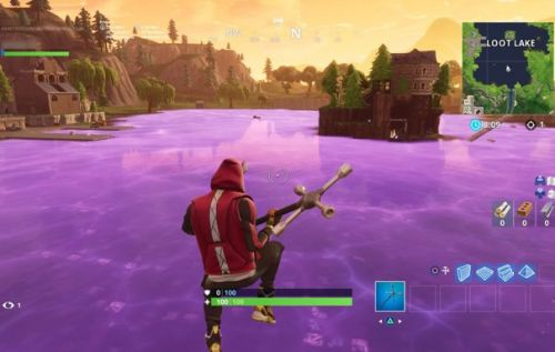 Fortnite purple cube transforms Loot Lake into giant bounce pad