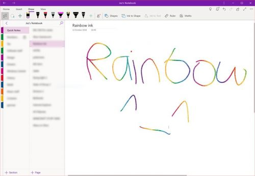 Why does OneNote have sparkly rainbow ink? Microsoft explains