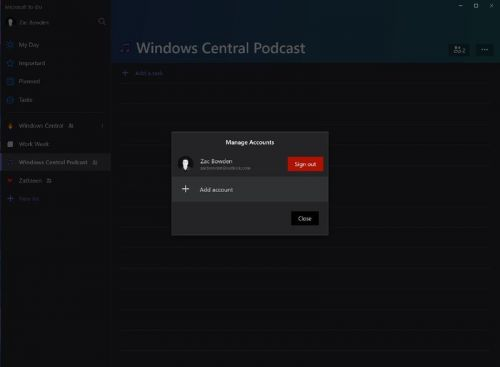 Microsoft To-Do for Windows 10 adds multiple account support for Insiders