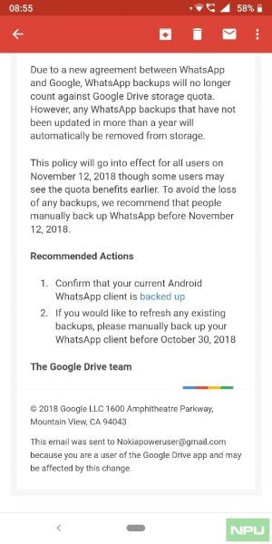 WhatsApp Backups no longer count against Google Drive storage quota thanks to a Google-WhatsApp agreement