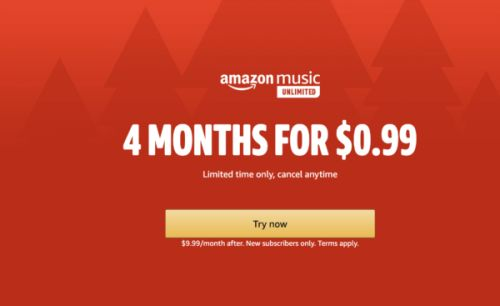 You Can Get 4 Months Of Amazon Music Unlimited For $0.99 For A Limited Time