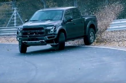 Watch a Ford F-150 Raptor pickup truck drift around the treacherous Nürburgring