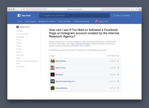 Facebook will alert you if you liked a fake Russian account