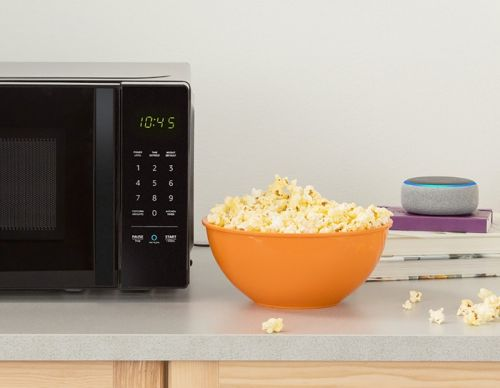 The AmazonBasics Microwave has Alexa built-in