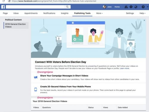 Facebook is working on a new feature for Political Campaigns