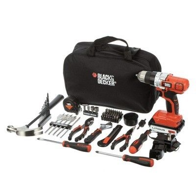 The $57 Black+Decker kit includes a cordless drill, hand tools, and more