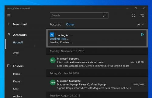 Microsoft starts testing ads in the Windows 10 Mail app
