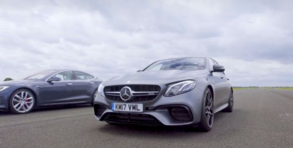 'Top Gear' raced a Tesla 100D against a Mercedes sedan, and you'll totally believe what happened next