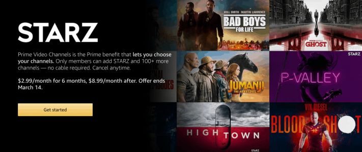 Get STARZ For $2.99/Month For 6 Months Through Amazon Prime Video