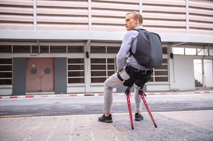 Lex is a wearable exoskeleton that lets you take a comfortable seat anywhere